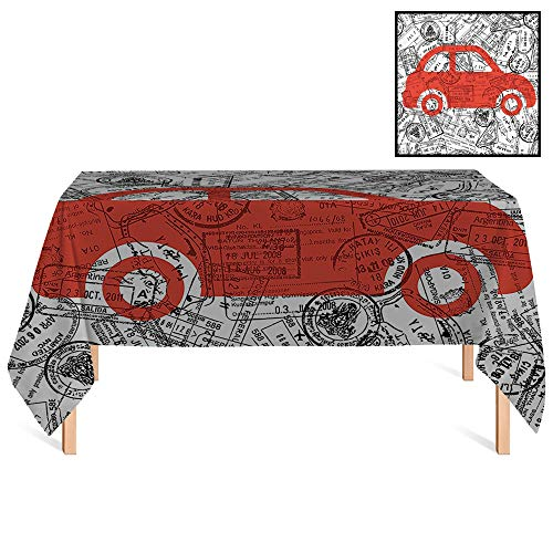 (SATVSHOP Tablecloth Heavy Weight /55x86 Rectangular,Cartoon Little Car with Travel Themed Passport Stamps Background Abstract Design Red Black and White.for)