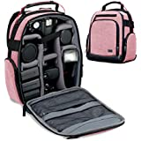 Portable Camera Backpack for DSLR/SLR (Red) by USA Gear with Customizable Accessory Dividers, Weather Resistant Bottom, Comfortable Back Support for Canon EOS T5/T6 - Nikon D3300/D3400 and More