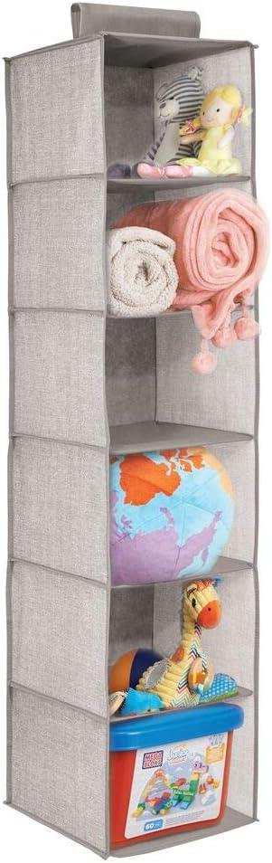 organizer armadi per bambini coperte mDesign Portaoggetti in stoffa da appendere asciugamani colore: lino portaoggetti da appendere con 6 scompartimenti per vestiti giocattoli