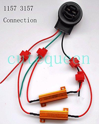CUTEQUEEN 4PCS 50W 6Ohm Load Resistors for fix LED Turn Signal bulb Lights Fast Hyper Flash Error Code JIANXIN