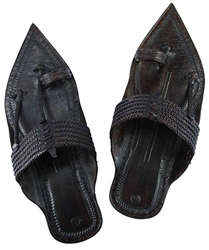 For Extra Black Original Kolhapuri Men Slipper Gorgeous Chappal Braided Six Sandal Pointed Z8Z6Saqw