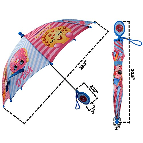 Amazon.com: Shopkins Girls Little Assorted Character Rainwear Umbrella, Blue/Pink, Age 3-7: Clothing