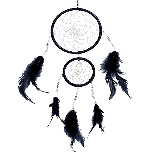certainPL Dream Catcher, Handmade Lace Feather Wall Hanging Home Decoration Decor Ornament Craft 11.8'' Long (Black) by certainPL (Image #1)