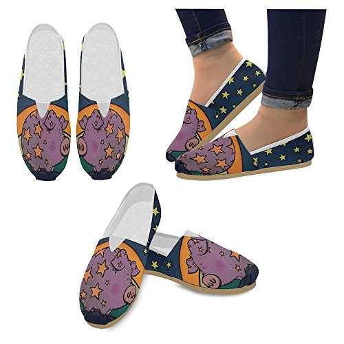 InterestPrint Womens Loafers Classic Casual Canvas Slip On Fashion Shoes Sneakers Flats Pig 2YdNiat