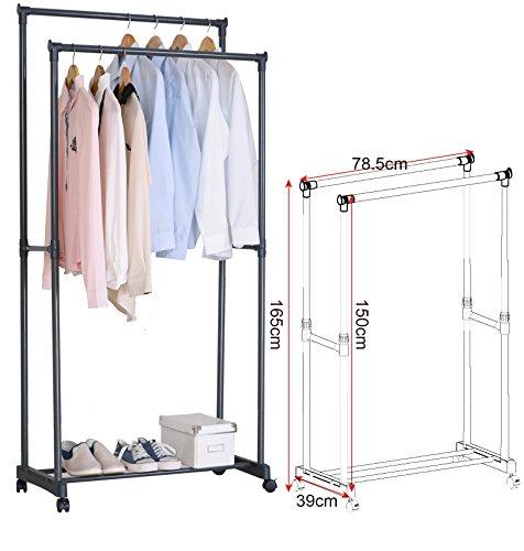 EUGAD SR0004 Kleiderständer Garderobenständer auf Rollen , Teleskop Wäscheständer mit 2 Kleiderstange , ausziehbar stabil verchromt