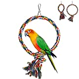 NNDA CO Pet Bird Parrot Swing Cage Toy Chew Bites For Parakeet Cockatiel Cockatoo Toy, Cotton Rope(Large)
