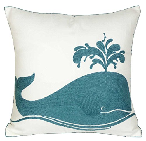 DECOPOW Embroidered Whale Throw Pillow Covers,Square 18 inch Whale Decorative Canvas Pillow Cover for Nautical Style Deco by (Seagreen-Whale)