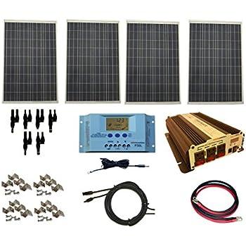 windynation complete 400 watt solar panel kit with 1500 watt vertamax power  inverter rv, boat, for off-grid 12 volt battery