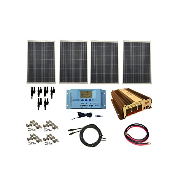 WindyNation-Complete-400-Watt-Solar-Panel-Kit-with-1500-Watt-VertaMax-Power-Inverter-RV-Boat-Off-Grid-12-Volt-Battery