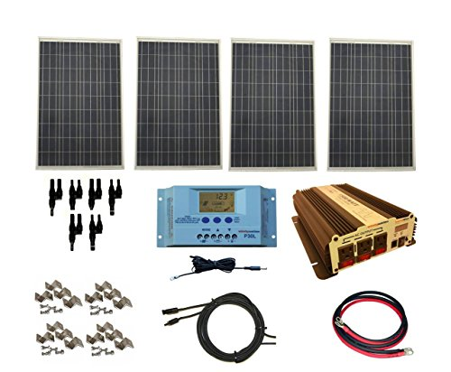 WindyNation Complete 400 Watt Solar Panel Kit with 1500 Watt VertaMax Power Inverter RV, Boat, Off-Grid 12 Volt Battery (Solar Panel Kits For Homes)