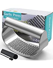 Garlic Press Rocker, Stainless Steel Garlic Crusher Garlic Mincer Presses and Ginger Press Squeezer with Silicone Tube Garlic Peeler + Clean Brush, Dishwasher Safe Sturdy Kitchen Gadget Tools, Easy to Use & Clean【2020 Upgrade】