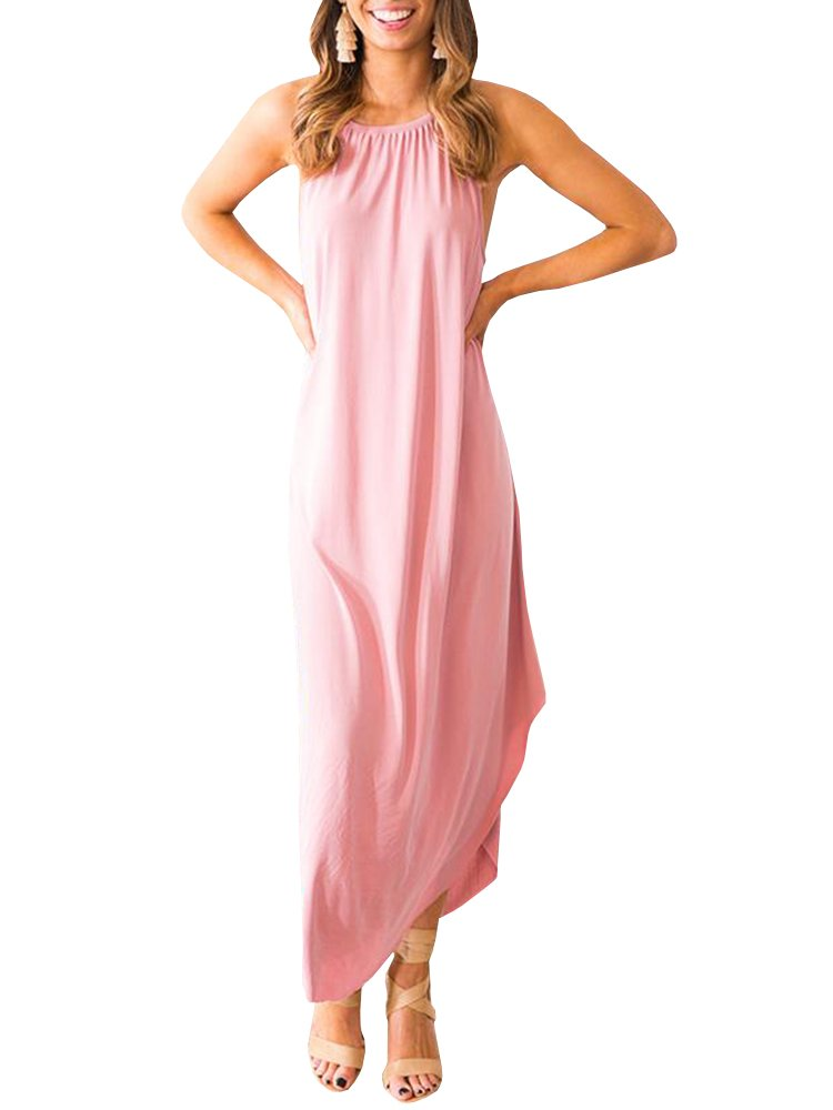 Beautife Womens Summer Sleeveless Halter Maxi Dress Casual Loose Fit Plain Long Dresses