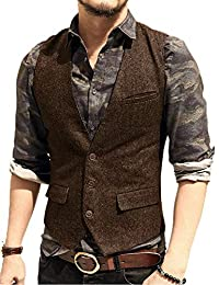 JYDress Men's V Neck Casual Vest Modern Fit Dress Suit Waistcoat