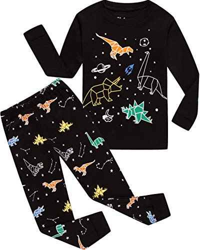 mas for Boys Pj Sleepwear Dino World 2 Piece Long Sleeve Toddler Clothes Size 5 ()