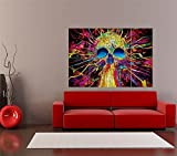 PSYCHEDELIC TRIPPY SKULL ART GIANT ART PRINT HOME DECOR POSTER PICTURE OZ2433