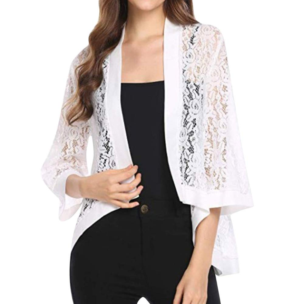 UONQD Women Solid Hollow Long Sleeve Floral Lace Shrug Open Front Cardigan (Small,Y-White)