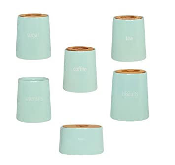 Complete Range Of Fletcher Canister Kitchen Storage Jars Blue Ceramic With  Bamboo Lid (Complete Set