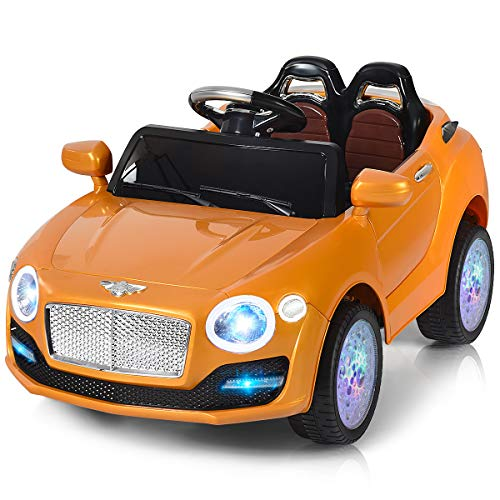 Costzon Ride On Car, 6V Battery Powered Vehicle, Manual/ 2.4G Parental Remote Control Modes Car w/Flashing Wheel Lights, Swing Function, 3 Speeds, Bluetooth, MP3, Music, Radio, Horn for Kids (Gold) (Flashing Flash Wheel Lights For All Cars)