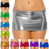 IWEMEK Women Shiny Metallic Wet Look Bodycon Short Mini Skirt Sexy Lingerie Short Dance Clubwear Dancewear