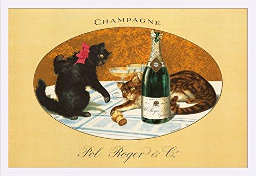 champagne-pol-roger-vintage-poster-c-1921-36x24-giclee-art-print-gallery-framed-white-wood
