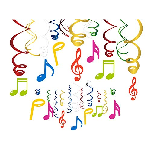LUCKKYY 30Ct music hanging swirl Party Decoration - Music Party Thame - Colorful Music Notes Whirls for Concert Party School Home Decorations (Foil Musical)