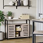 VASAGLE Floor Standing Cabinet, Kitchen Storage Cabinet with Cupboard and Shelves, Louvred Doors, for Dining Room…