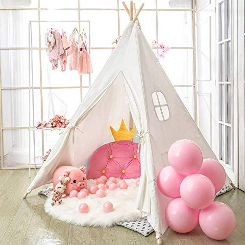wilwolfer Teepee Tent for Kids Foldable Children Play Tents for Girl and Boy with Carry Case Canvas Playhouse Toys for Girls or Child Indoor and Outdoor (White) (Much Daybeds How Are)