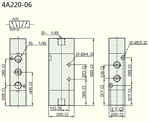 5//2 way Pneumatic Air Pilot Valve 1//8/″ NPT 4A220-06 NPT