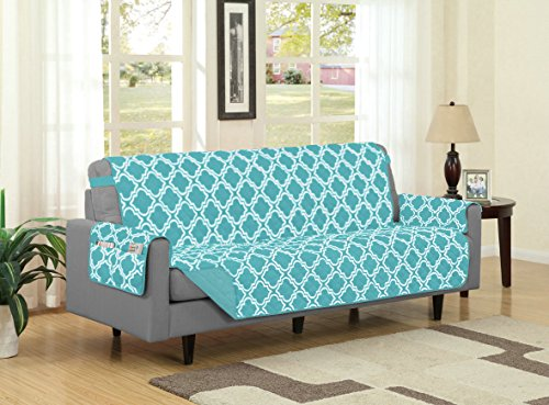 Recliner Prints (Austin Reversible Solid/Print Microfiber Furniture Protector With Strap & Side Pockets (Sofa, Turquoise))