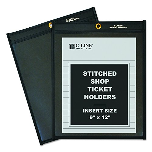 - C-Line Shop Ticket Holders, Stitched, One Side Clear, 9 x 12 Inches, 25 per Box (45912)