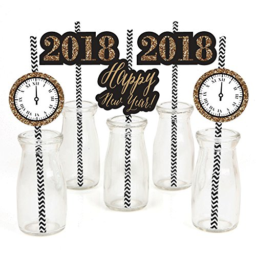 New Year's Eve - Gold Paper Straw Decor - 2018 New Years Eve Party Striped Decorative Straws - Set of 24