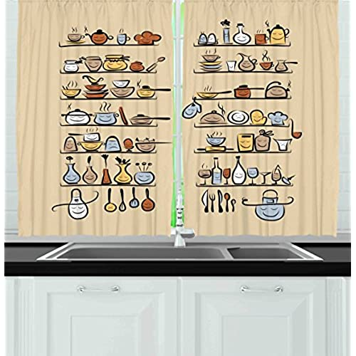 Beau Ambesonne Kitchen Decor Collection, Kitchenware And Utensils Appliances  Ornaments Spice Rack Vintage Retro Style Cafe Design, Window Treatments For  Kitchen ...