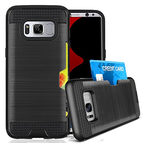 Galaxy S8 Case, Jwest Galaxy S8 Wallet Card Holder Defender Rubber Bumper...
