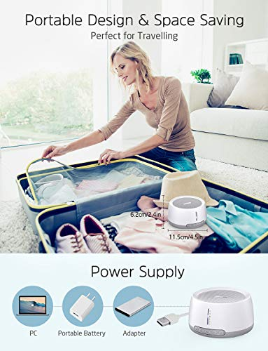 PICTEK Sound Machine for Baby Sleeping, White Noise Machine with 30 Soothing Sounds (Up to 100dB), 3 Auto-off Timer, Memory Function and USB or AC Powered for Sleeping & Relaxing (With Adapter)