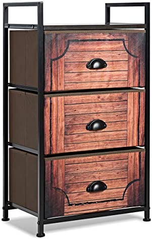 Tangkula 3 Drawer Fabric Dresser Storage Tower