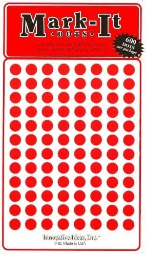 Medium 1//4 removable numbered 1-240 Mark-it brand dots for maps red reports or projects