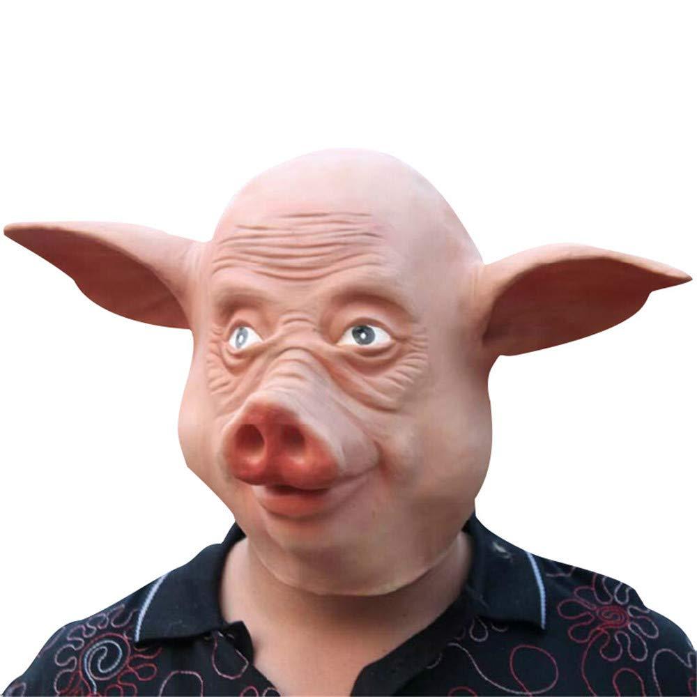 ILYMJ Máscara de látex máscara máscara cerdo ocho anillo máscara capucha ecológico látex Máscaras