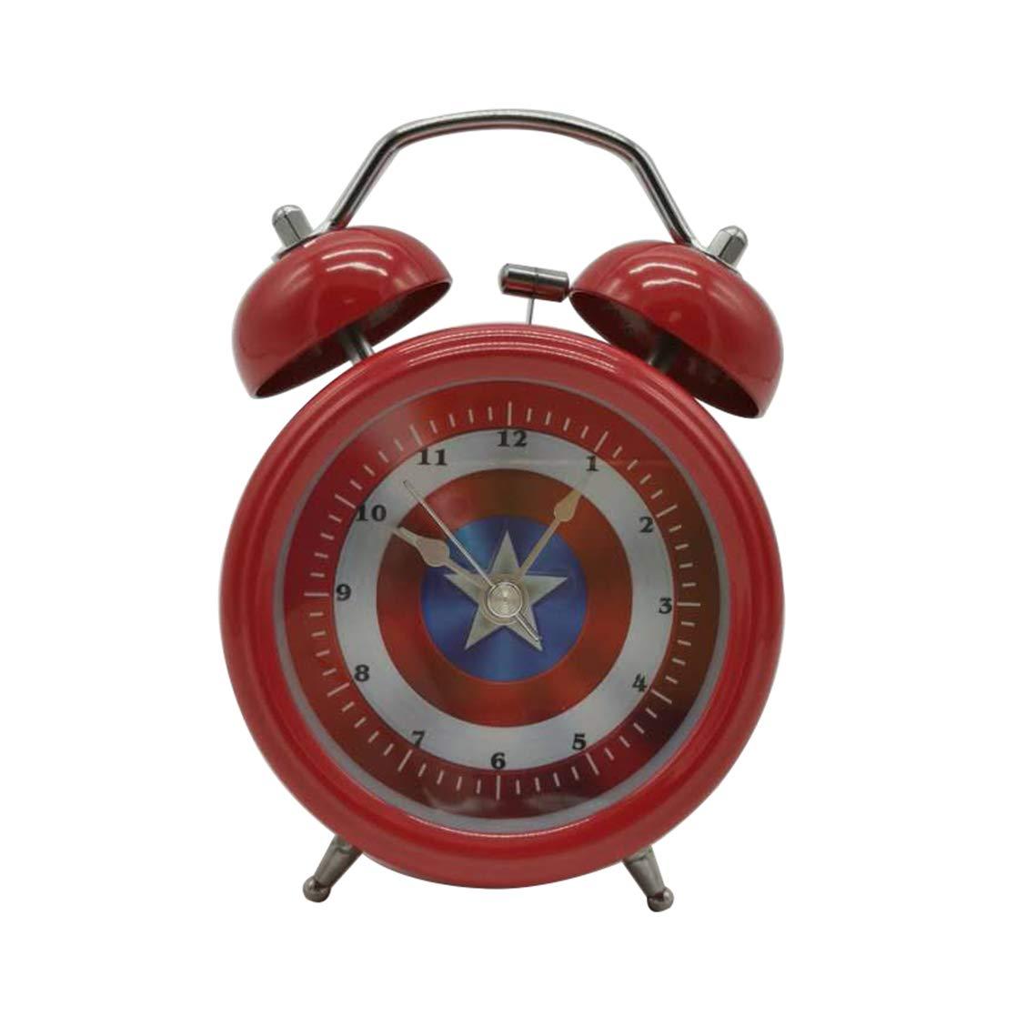 Wolf Warrior Novelty Superhero Analog Alarm Clock Silent Sweep Night Backlight Home Decoration Round Desk Alarm Clock Children Gift (3'' Captain of America)