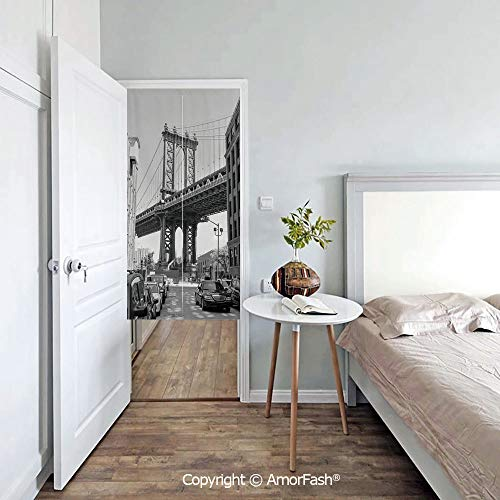 (AmorFash Landscape Japanese Noren Doorway Curtain/Tapestry,Cotton Linen, Decorative,Brooklyn New York USA Landmark Bridge Street with Cars Photo)