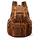 GEARONIC TM 21L Vintage Canvas Backpack for Men Faux Leather Rucksack...