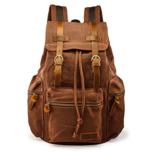 GEARONIC TM 21L Vintage Canvas Backpack for Men Leather Rucksack Knapsack 15 inch Laptop Tote Satchel School Military Army Shoulder Rucksack Hiking Bag Coffee -
