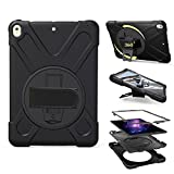 PPSHA iPad Pro 10.5 Case, Heavy Duty Hybrid Shockproof Protection Cover Built With Kickstand and Hand Strapfor Apple iPad Pro 10.5 Tablet (2017 Model) (Black)