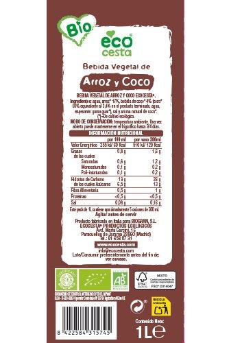 ECOCESTA bebida vegetal de arroz y coco bio envase 1 lt: Amazon.es: Alimentación y bebidas