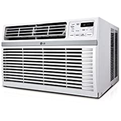 The LG 10,000 BTU 115V window-mounted air conditioner is perfect for cooling a room up to 450 square feet. You will cool a lot and save even more with this unit's energy Saver function, 24-hour on/off timer and a 12.1 energy efficiency ratio....