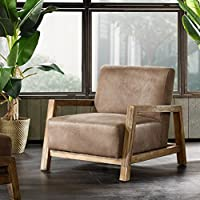 Mid Century Modern Rustic Style Taupe Brown Faux Leather Upholstered Accent Danish Arm Lounge Chair - Includes ModHaus Living Pen
