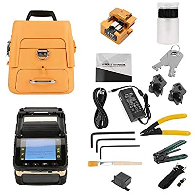 Acogedor Fiber Fusion Splicer Machine, 5.0 Inch Digital LCD Screen Display Fiber Optic Welding Splicing Machine, for SM, MM, NZDS, with Optical Fiber Cleaver and Automatic Focus Function (US Plug)