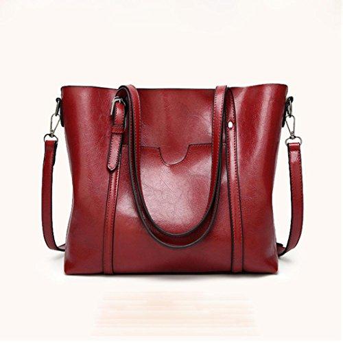 Donna Bag Tracolla borsa crossbody borsa Luoluoluo artificiale casual con borsa moda in borsa tracolla Borsa Messenger Rosso a cerniera benna pelle tote TtZTwqBgxE