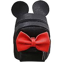 Women Kid Girls Cartoon PU Leather Mouse Ear Bow Backpack Shoulder School Mini Travel Satchel Casual Bag Black