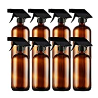 Empty 8OZ Amber Glass Spray Bottles, Hoa Kinh 8 Pack Refillable Container, Brown...