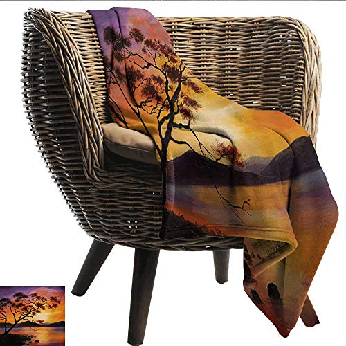 EwaskyOnline Country Travel Blanket Picture of Old Tree Bending Over River with Mountain Landscape at Sunset Super Soft Cozy 91